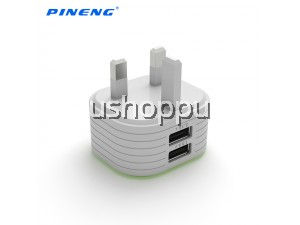 100% Original Pineng PN-501 Dual USB Port UK/Malaysia Portable Adapter Charger with 2 USB Output 2.1A/1A Excellent For Home and Travel