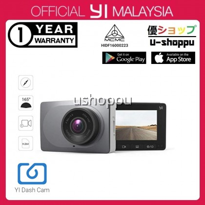 """[OFFICIAL YI MALAYSIA 1 YEAR WTY] YI Smart Dash Cam, 2.7"""" Screen 1080P60 Full HD 165 Wide Angle Front Dashboard Camera Car DVR Vehicle Recorder with ADAS, G-Sensor, Phone APP, WDR, Loop Recording - Grey"""
