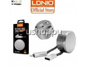 LDNIO LC90 2.4A High Speed Lightning & Micro USB Data Retractable 2 In 1 Cable