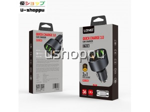LDNIO C703Q 3 IN 1 INTELLIGENT QUICK CHARGE 3.0 CAR CHARGER