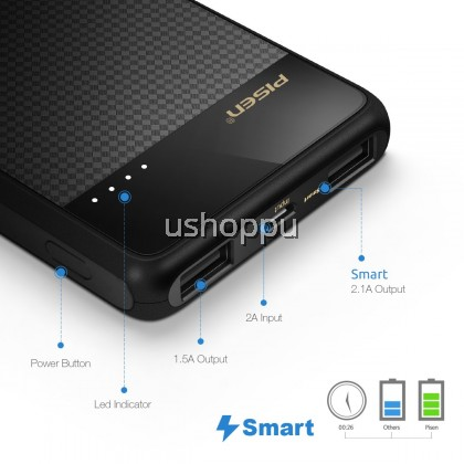 PISEN Powerbank 2C USB Portable Charger,Power Bank 10000mah, Battery Pack with LED Indicator Light, Dual USB External Battery Charger [Plaid] for iPhone, iPad, Samsung, Nexus and More (Black)