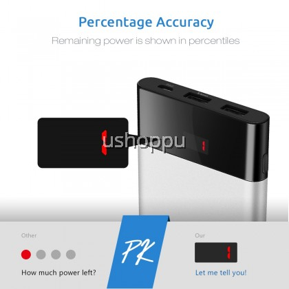 Slim Portable Charger,Power Bank 10000mah, PISEN Battery Pack with LED Display, Dual USB External Battery Charger [Anti-Fingerprint] Compatible for Apple, Huawei, Oppo, Vivo, Mi, Samsung, Nexus and More