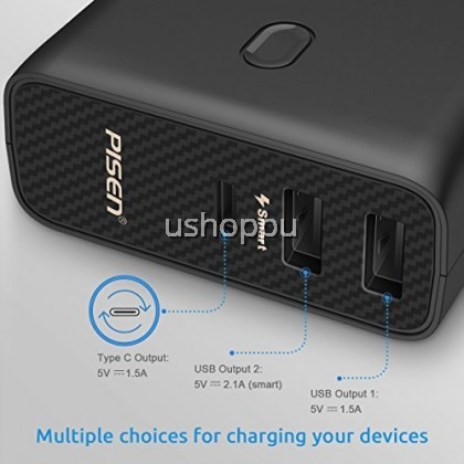 PISEN Power Combo AC5000 2-in-1 Portable Charger - External Battery Pack with Foldable Worldwide Adapter UK EU US - 5000mAh Power Bank Type C for iPhone, iPad, Android, Tablets, Samsung Galaxy and More (Black)