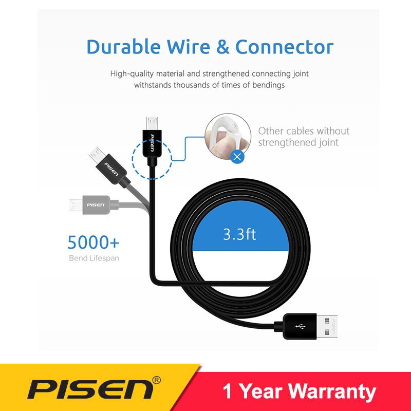 PISEN Data Cable Micro USB Moto-2A (1000mm)